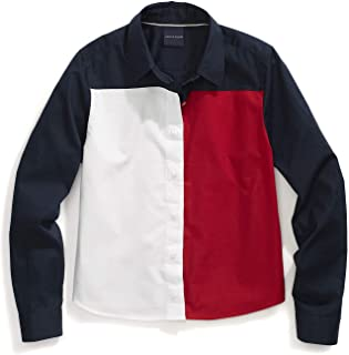 Tommy Hilfiger Women's Adaptive Colorblock Flag Shirt with Magnetic Buttons