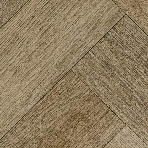 BODENMEISTER BM70518 Vinylboden PVC Bodenbelag Meterware 200, 300, 400 cm breit, Holzoptik Fischgrät Eiche beige grau