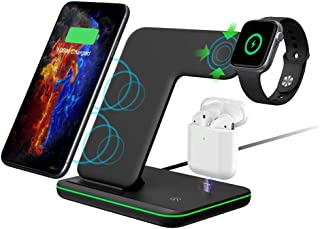 Apple iPhone WIRELESS CHARGER Station, AIRPOODS 1,2, PRO/Qi Fast for iPhone 11 Pro/11/11 XS Max/XR/XS, iPhone 8/8+, Galaxy S10/S10+/X9/X9+/S 8/S 8+ Apple Watch Series 5,4,3,2,1 by AIM Goods