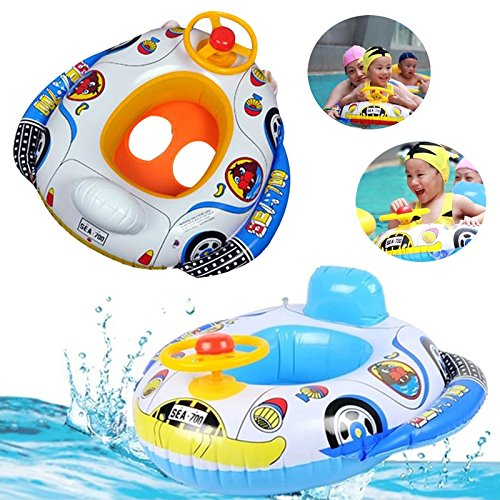 Inflatable Car Baby Kids Toddler Safety Swimming Pool Float Seat Boat Ring...