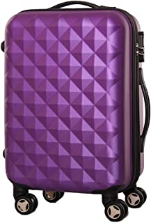 Fashion Diamond Trolley Case, Large Capacity Luggage Caster ABS Material, Solid Anti-Collision 20 Inch 24 Inch Suitcase (Color : Purple, Size : 20inch)