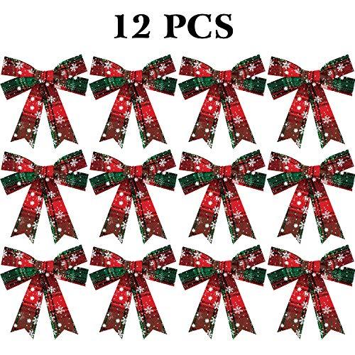 WILLBOND Lazos de Navidad Lazos a Cuadros de Copo de Nieve Lazos Decorativas de Vacación para Suministros de Decoración de Festival de Navidad (12)