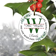 W Monogram Initial Christmas Tree Holiday Ornament - The Wylie Family, Where Life Begins and Love Never Ends - 2019 Ideas for Family Ornament 3 Inches