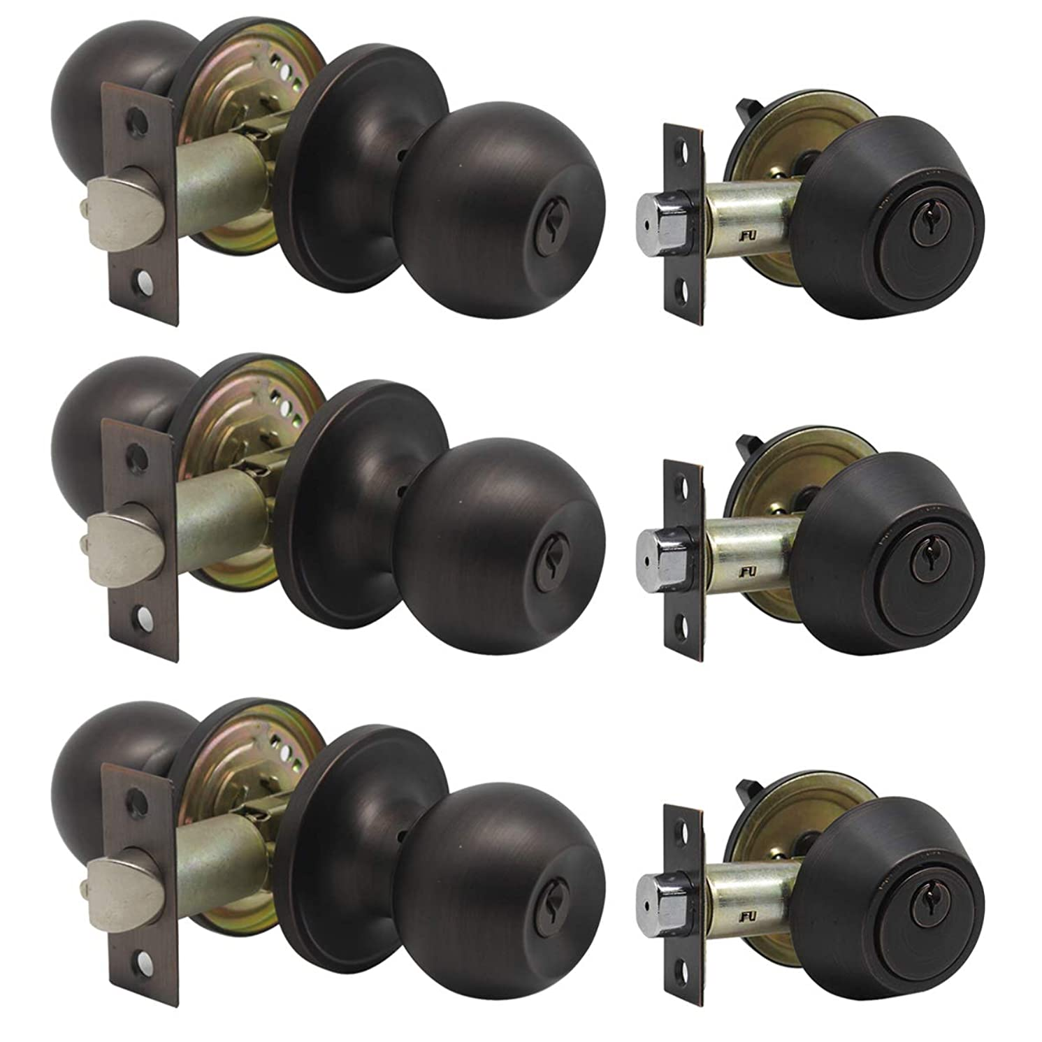 3 Pack Keyed Alike Entry Door Knobs/Keyed Door Lock, Double Cylinder Keyed Deadbolt with Matching Round Style Knob, Classic Oil Rubbed Bronze Finish, Door Hardware & Lock