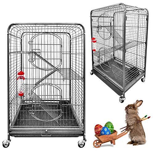 Froadp Metall Vogelkäfig mit Rollen - Nagerkäfig 2 Etagen Türen - für Chinchilla Frettchen Kaninchen 64 * 43,5 * 93,5 cm