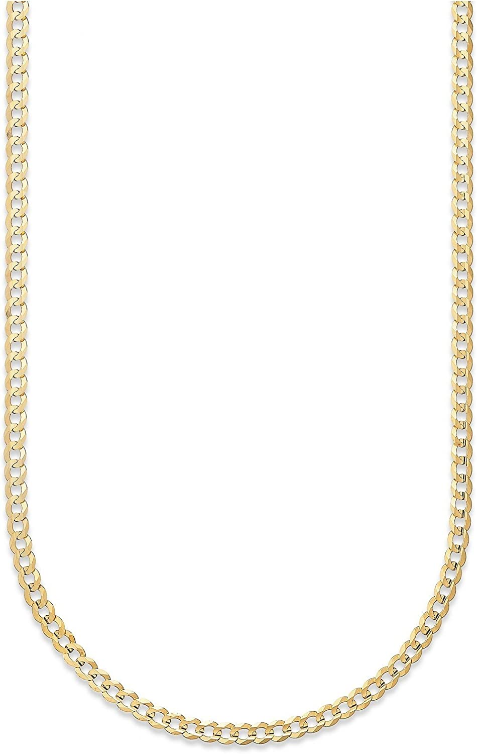 18K Yellow Gold 3.5MM, 5MM, or 6.5MM Cuban Curb Link Chain Necklaces or Bracelets- Made in Italy-18 Karat