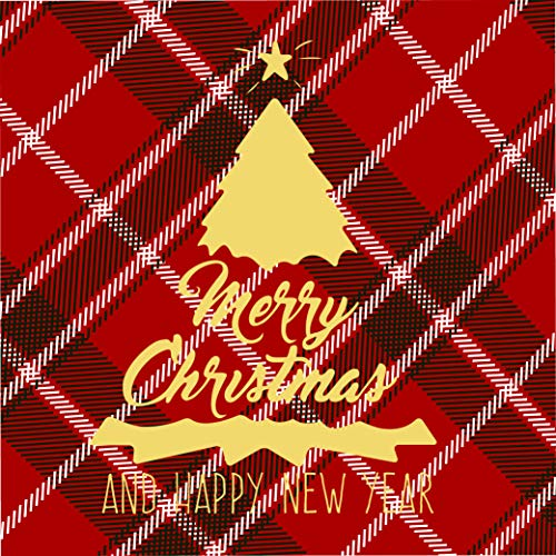 Buffalo Red and Black Plaid with Gold Foiled Christmas Tree Paper Napkins - 50 Count