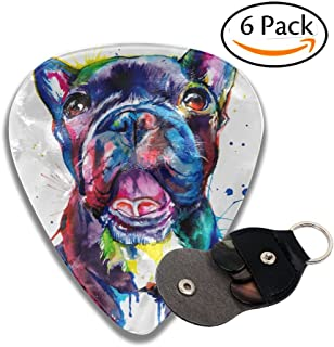Black French Bulldog Frenchie Art Celluloid Guitar Picks 6 Pack Includes Thin, Medium, Heavy & Extra Heavy Gauges