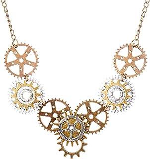 Steampunk Collar Cadena de Colgante de Engranajes de Bronce Antiguo, Colgante Collar Vintage Accesorios para Cosplay Hallo...