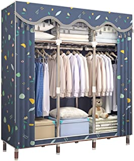 Garde-robe Simple Armoire Tissu Armoire de tuyaux en Acier Thicken Renforcement Location Tissu Assemblée Tout Acier Armoir...