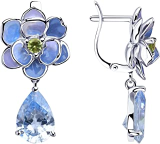 Paradis Love Sokolov Sterling Silver .925 Pear Shaped Drop Pendant w//Green and Clear Cubic Zirconia Crystals