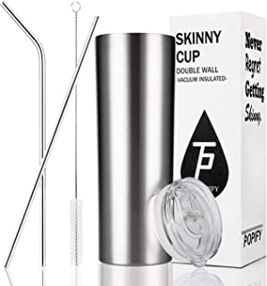 Toopify Stainless Steel Skinny Tumblers Vacuum Insulated Double Walled Tumbler with Straws Lid 20 oz for Coffee, Tea, Beverages,Silver