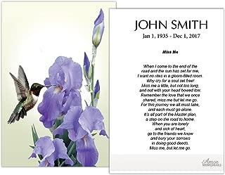 Funeral Memorial Prayer Cards (50 Cards) FPC1188EN Hummingbird and Iris Flower (Custom Printed - Select Desired Prayer)