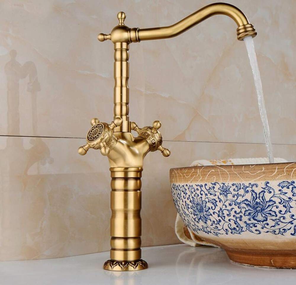 Tall Ceramic Handle Bathroom Basin Sink Mixer Tap Faucet Antique Brass Polished