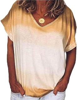 Women T Shirts Short Sleeve Tie Dye Casual Loose Tunic Tops