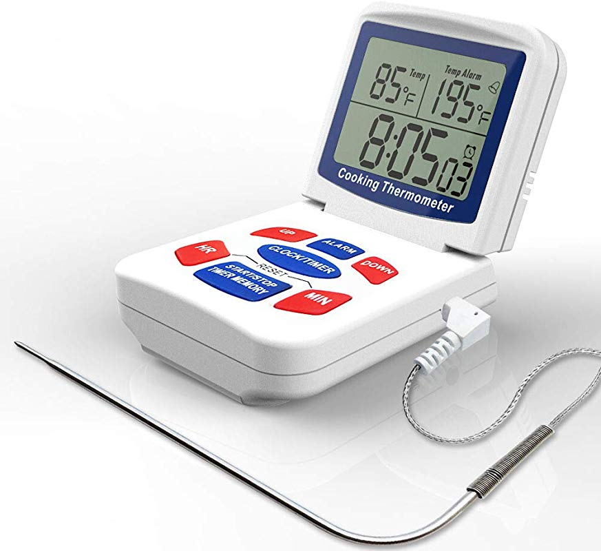 Digital Meat Cooking Thermometer With Timer Alarm Large LCD Clock Timer Setting And Automatic Temperature Alert Fahrenheit And Celsius Conversion For Cooking Smoker Kitchen Oven Grilling And BBQ