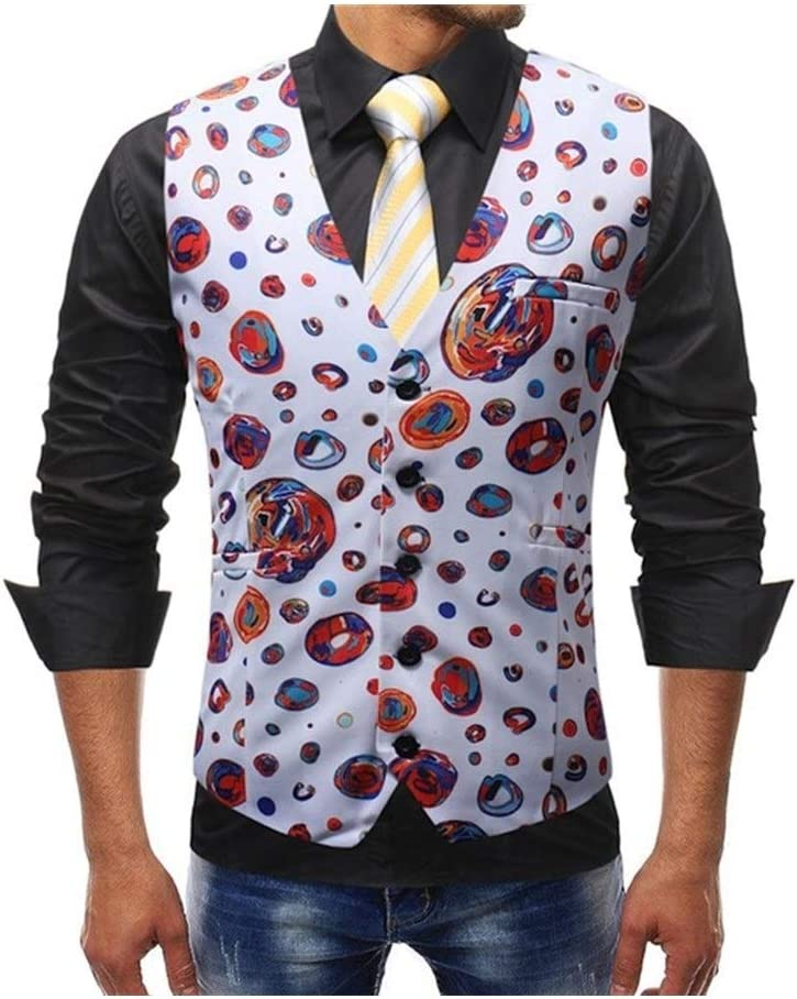 QWERBAM Dress Vests for Topics on TV Men Slim Printed Graffiti Sleeveless Fit Max 70% OFF