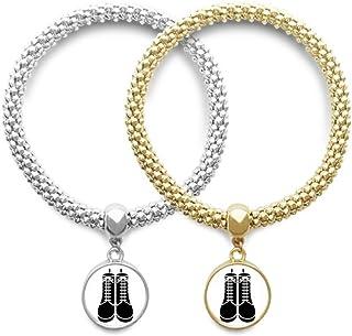 Men's Black High Boots Pattern Outline Lover Bracelet Bangle Pendant Jewelry Couple Chain