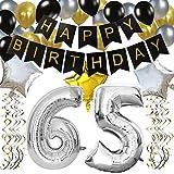 """KUNGYO Clásico Decoración de Cumpleaños -""""Happy Birthday"""" Bandera Negro;Número 65 Globo;Balloon de Látex&Estrella, Colgando Remolinos Partido para el Cumpleaños de 65 Años"""