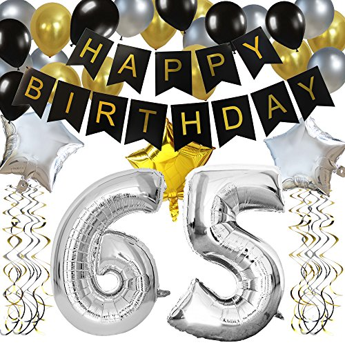 KUNGYO Classy 65. Geburtstag Party Dekorationen Satz Schwarz Happy Birthday Banner Silber 65 Mylar Folienballon, Alles Gute Zum Geburtstag Zubehör Für 65 Jahre Alt