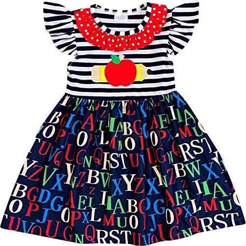 Boutique Toddler Girls Back to School Apple Pencil Dress Stripes 4T/M