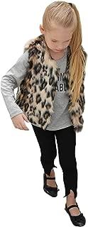 Baby Girls Fur Vest Sleeveless Faux Fur Waistcoat Winter Warmer Jacket Coat for Winter and Autumn(Leopard)