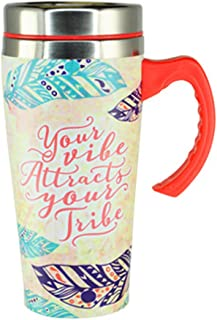 16 oz. Stainless Steel Thermal Printed Travel Coffee Mug with Lid and Handle - Your Vibe Attracts Your Tribe