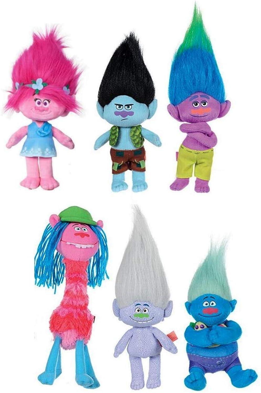 COMPLETE SET 6 Plush Peluche 20cm Characters Trolls Movie DreamWorks