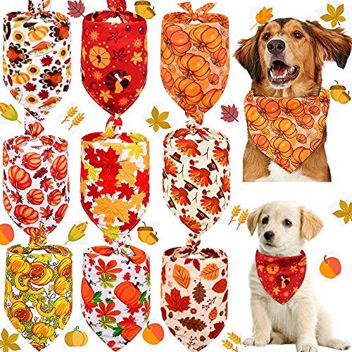 Pack de 9 bandanas para perros suaves y transpirables ajustables con patrón de calabaza de otoño para perros pequeños y grandes y gatos