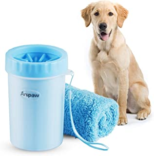 Dog Paw Cleaner, Anipaw 2-in-1 Silicone Dog Paw Washer Cup with Towel, Portable Pet Cleaning Brush Feet Cleaner for Dog Cat Grooming with Muddy Paws (Blue) (Blue) (Blue)