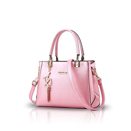 dadb11c70294f9 NICOLE&DORIS Women Fashion Handbag Crossbody Shoulder Purse Bag for Ladies  Water Resistant Totes PU Leather Pink