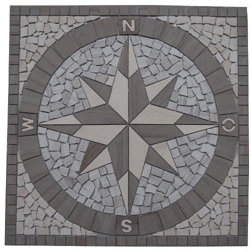 Marmor Rosone 120x120 cm Kompass Naturstein Windrose Mosaik Fliesen Einleger 033