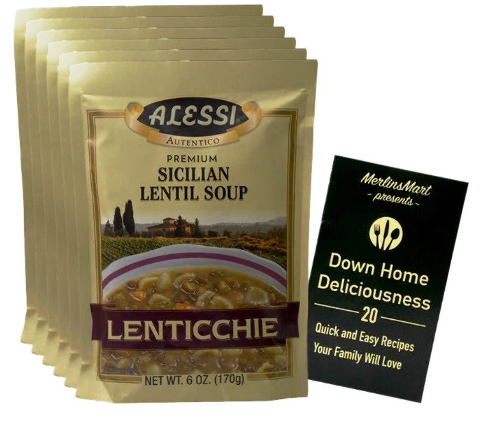 Alessi Authentic Italian Dry Soup Mix   Sicilian Lentil Lenticchie (6 Ounces)   6 Count   Plus Recipe Booklet Bundle