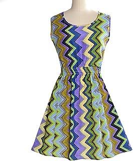 女性の大型ベストドレスプリントスカートノースリーブ花シフォンワンピース (Color : Colored vertical waves, Size : XL)