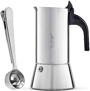Bialetti Venus Cafetera Italiana Express de Inducción de Acero Inoxidable para 4 Tazas, Adecuada para Todos los Tipos de Cocina con SmartProduct Cuchara para Café