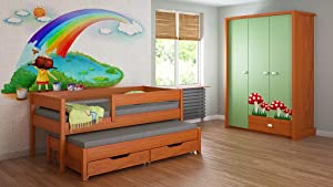 Trundle Bed For Kids Children Juniors with Foam Coconut Fibre Mattress and Drawers Included  200x90  Alder