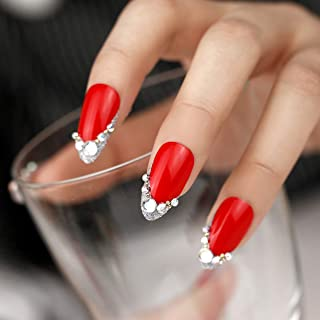 ArtPlus Fake Nails 24pcs Christmas Red Silver Glittering with Diamonds False Nails with Glue Full Cover Stilleto Nails Art