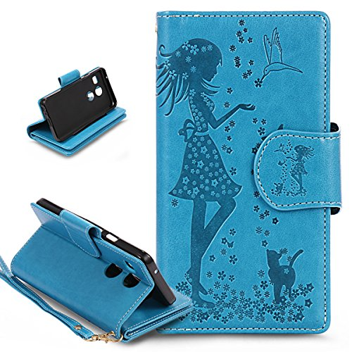 ikasus Compatible avec Coque LG Nexus 5X Etui,Motif Gaufrage Fleur robes fille chat oiseaux Housse Cuir PU Housse Etui Coque Portefeuille supporter Flip Case Etui Housse Coque pour LG Nexus 5X,Bleu
