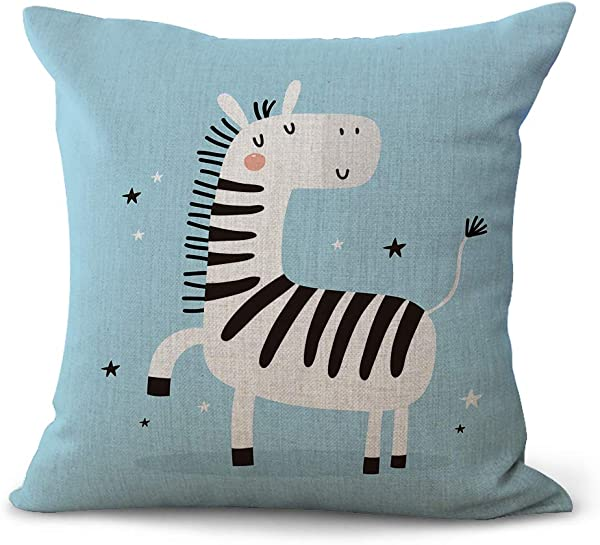 Miracle Dec Cartoon Zebra Pattern Linen Polyester Square Throw Pillow Covers Textured 18 X18 Pale Blue
