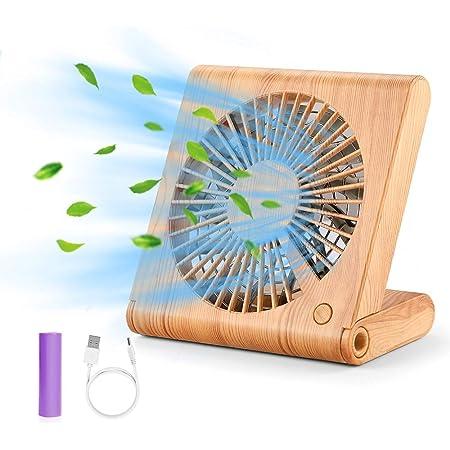 GeeRic Ventilateur de Bureau, Mini USB Ventilateur Pliant Silencieux Ventilateur Portable Rechargeable pour Table PC Maison Bureau Bibliothèque Voyage avec 3 Vitesse Brun Clair