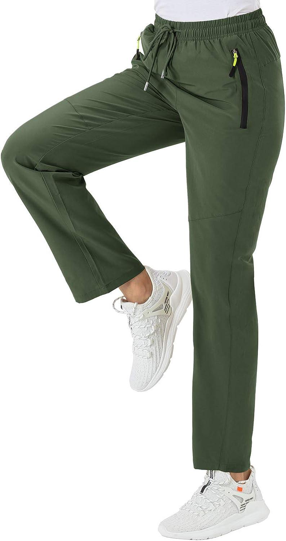 BGOWATU Women's Hiking Cargo Pants Quick Dry Lightweight Water Resistant Joggers Pants Zipper Pockets