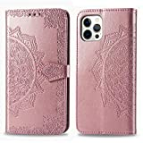 ZISD011749 - Funda de piel sintética tipo cartera para iPhone 12 y 12 Pro de 6,1 pulgadas, con...