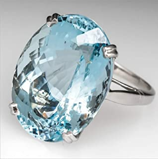 MAIHAO Vintage Fashion Women 925 Silver Oval Cut Aquamarine Gemstone Ring Engagement Wedding Jewelry Size 5-11