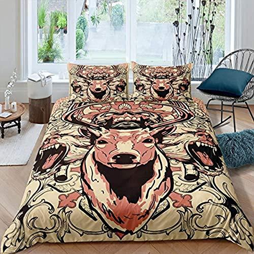 HKDGHTHJ® Edredón infantil Imagen creativa 3D Toro animal salvaje 200x200 CM Juego de ropa de cama de estilo simple, funda de edredón suave, sábana, fundas de almohada, ropa de cama para niños
