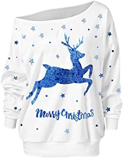 Womens Christmas Tree Pullover Off Shoulder Long Sleeve Loose Sweatshirt
