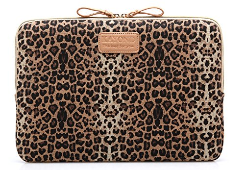 Kayond KY-03 Canvas Fabric 15.6 Inch Laptops Sleeve - Brown Leopard Print