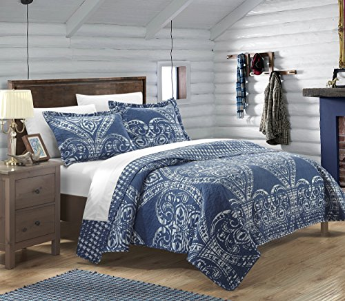 Chic Home 3 Piece Napoli Reversible Printed Quilt Set, Queen, Navy