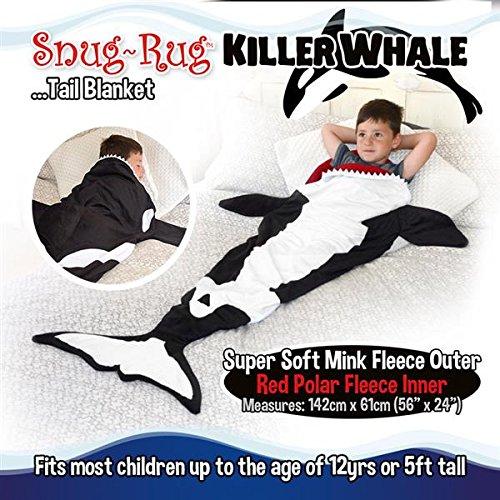 Snug Rug Killer Walschwanz schwarz & weiß super weiche Qualität Nerz Fleecedecke - bis zu 152 cm hoch, Polyester, schwarz und weiß, 61 x 5 x 142 cm