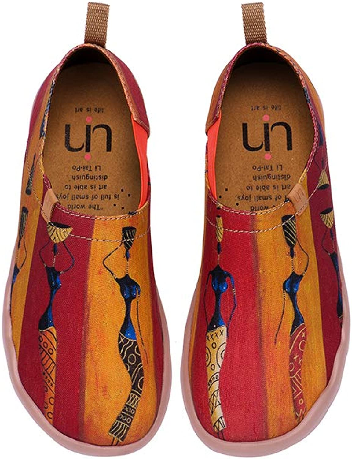 UIN Women's Lady-Walking Painted Canvas Slip-on shoes Red