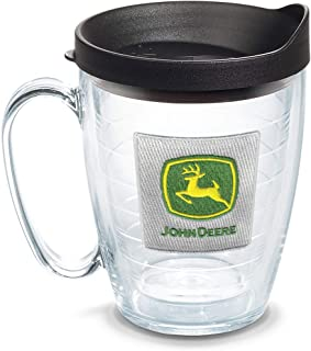 كوب Tervis 1092263 John Deere-Classic Logo Insulated Tumbler with Emblem and Black Lid, 16Oz، شفاف